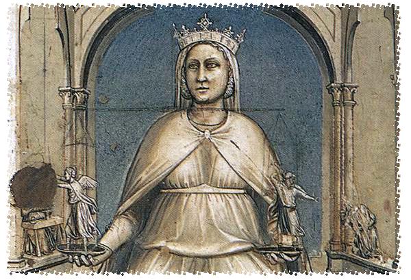 """Giotto, Cappella degli Scrovegni, Padova, inizio XIV sec. - """"La giustizia"""""""